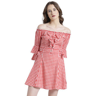 Buy Texco Women Red   White Cotton Off shoulder Ruffled Checks Dress Online  - Get 57% Off c035e58c9