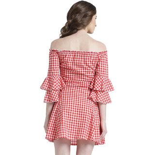 b6317b0c4ab Buy Texco Women Red & White Cotton Off shoulder Ruffled Checks Dress ...