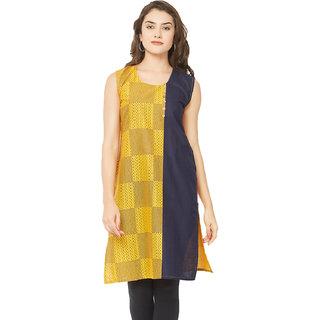 4b0846bd2f4420 Buy Tapasvee Womens Yellow Sleeveless Cotton Kurti Online - Get 36% Off