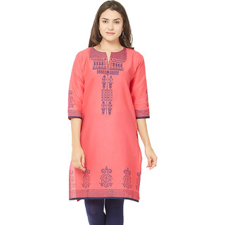 3df3b489255fdb Buy Tapasvee Womens Embroidered Tomato Red Side Slit Cotton Kurti Online -  Get 45% Off