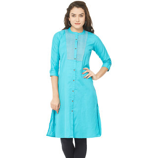 1339e66f3a0d49 Buy Tapasvee Womens Sky Blue A-line Cotton Kurti Online - Get 34% Off
