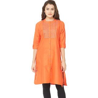 67f2490ca62eb1 Buy Tapasvee Womens Orange A-line Cotton Kurti Online - Get 34% Off