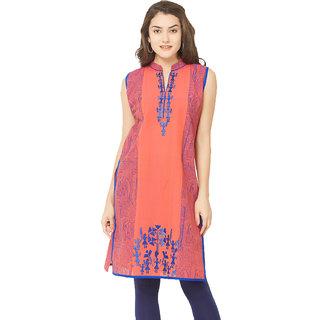 Tapasvee Womens Orange Sleeveless Knee Length Cotton Kurti