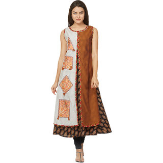 Tapasvee Womens Brown Sleeveless Embroidered A-line Anarkali