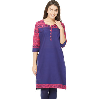 9d561035a05489 Buy Tapasvee Womens Royal Blue and Dark Pink 3 4th Sleeved Cotton Kurti  Online - Get 46% Off