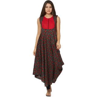 ba1c52ecd28a3b Buy Tapasvee Womens Round Neck Red Black Dhoti Style Calf Length ...