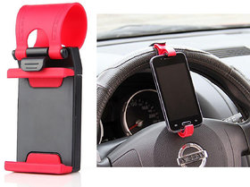 KunjZone Car Steering Wheel Universal Mobile Phone Socket Stand Holder Clip