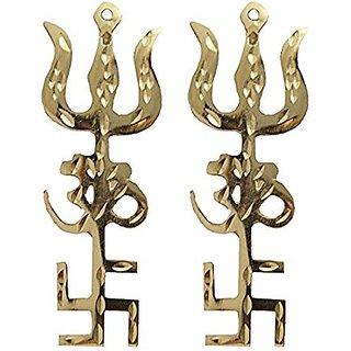 2 PCS Brass Swastik Om Trishul Trishakti Yantra Hanging For Vastu