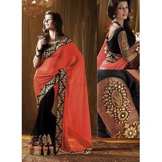 Green Color Georgette Bollywood Designer Saree