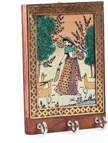 Ramani Handicraft Wall Decorative Wooden Rajasthani 3 Hook Key Hanger