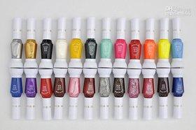 Nail Art Two Way Pen And Brush Varnish Polish 12 Color