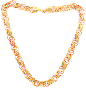 20' Inch Gold Plated High Quality Brass Chain For Men by Sparkling Jewellery