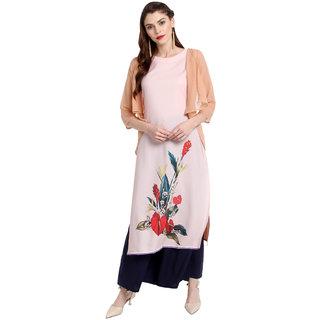 Janasya Women's Light Pink Crepe Jacket Style Floral Print Kurta