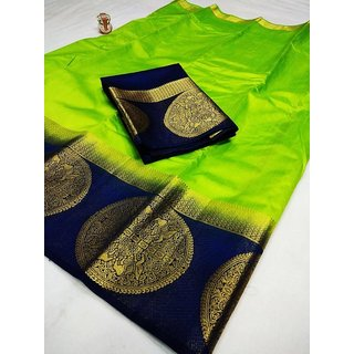 Indian Beauty Green Kanjivaram Raw Silk With Jacquard Border Embellished Saree With Blouse