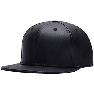 4c57bee965e Buy Leather Hiphop Cap Solid Black Cap Hat For Men Women Boys Girls ...