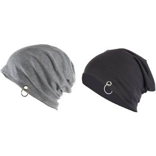 2c5c3a21606 Buy Babji Solid Black Grey Stylish Beanie Ring Cap (Pack Of 2) Online - Get  50% Off