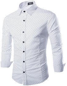 Royal Choice Men's Dotted White Casual Shirt