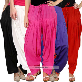 Pixie Readymade Plain Traditional Cotton Comfort Punjabi Patiala Salwar Pants for Women Bottoms Combo Pack of 5