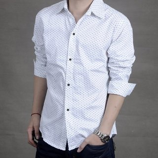 Trends Fashion Dotted White Casual Shirt For Men