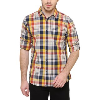 KACLFS1202 - Kuons Avenue Yellow Checkered Casuals Slim Fit Shirt For Men