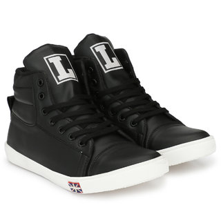 6854a1e38c0b58 Buy S37 Men s Casual Black HIgh Ankle Sneaker shoes Online - Get 2% Off