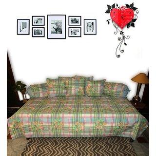 AH Set of 8 Pcs  Printed Multi Color Diwan Set  ( 1 Diwan Sheet , 2 Bolster Cover , 5 Cushion Cover )