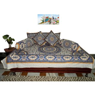 AH Set of 8 Pcs  Multi Color Diwan Set ( 1 Diwan Sheet , 2 Bolster Cover , 5 Cushion Cover )