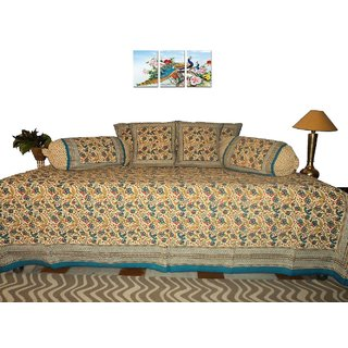 AH Set of 8 Pcs  Multi  Color  Printed Cotton  Diwan Set  ( 1 Diwan Sheet , 2 Bolster Cover , 5 Cushion Cover )