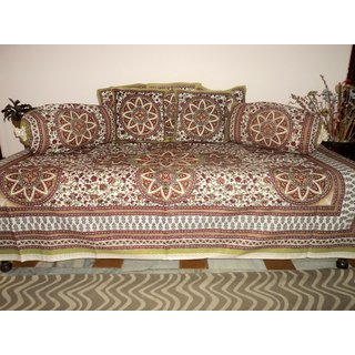 AH Set of 8 Pcs  Multicolor Floral Design Printed Diwan Set ( 1 Diwan Sheet , 2 Bolster Cover , 5 Cushion Cover )