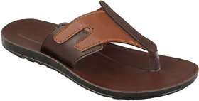 Birde Brown Leather Slippers For Men