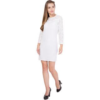Alvenda Women's White Full Sleeve Nylon lace Poly georgette High Fashion Dress  Knee Length  Party Wear Dress