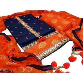 glaze cotton embroidery and mirror work unstitched salwar suit.