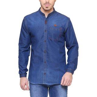 KACLFS1237 - Kuons Avenue Men's Solid Casual Denim Mandarin Collar Blue Shirt