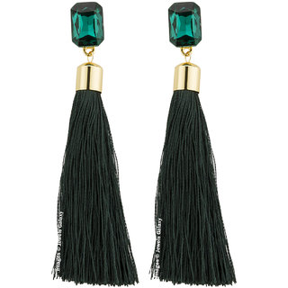 Jewels Galaxy Elegant Luxuria Edition Gold Plated Glitzy Green Crystal Fascinating Tassel Earrings For Women/Girls