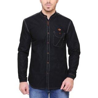KACLFS1241 - Kuons Avenue Men's Solid Casual Denim Madarin Collar Black Shirt