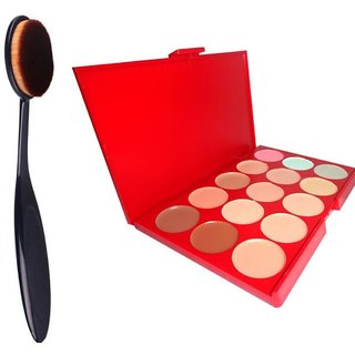 ADS  15 Colors Contour Face Creme Makeup Concealer Palette + Make up Brush Pack of 2-C357  (Set of 2)