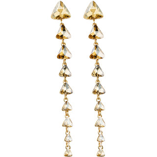 Jewels Galaxy Delicate Trigonal Design Luxuria Gold Plated Glamorous Pair Of Crystal Beige Drop-Earrings For Women/Girls