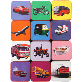 MY MEOW Educational blocks Vehicle Learning For Kids With colorful Pictures, Zipper Bag Packing, Best Gift Toy, Multico