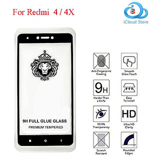 Redmi 4 /4X    Full Glue 9H Pro Premium Tempered Glass Edge to Edge Full Cover for  Redmi 4 (BLACK)