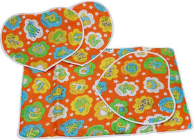 Nappy Changing Mat/Bed Protector Sheet/Cotton Changing Mat with 3 heart shape mat for o to 6 month babies 73 cm X 48 cm