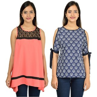 Timbre Women Stylish Crepe Tops Combo Pack Of 2