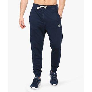 Reebok Men's Navy Polyester Lycra Track pant