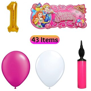 1st Birthday Decoration Kit For Girls Combo 43 Items