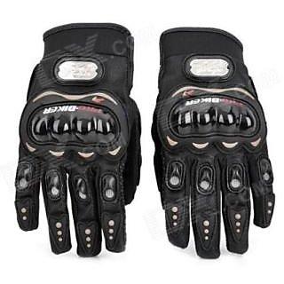 KunjZone Pro Biker Leather Motorcycle Gloves (Black XL)