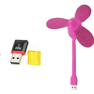 Combo of USB Fan and Card Reader (Assorted Colors)