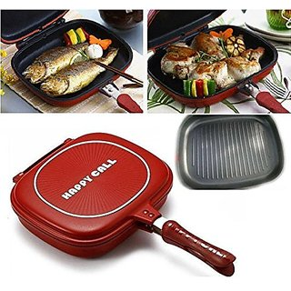 SAIMA  Happy-Call Non-stick Double-Sided-Pan-Big-SizeDouble Pan, Omelette Pan, Flip Pan, Square, Dishwasher Safe