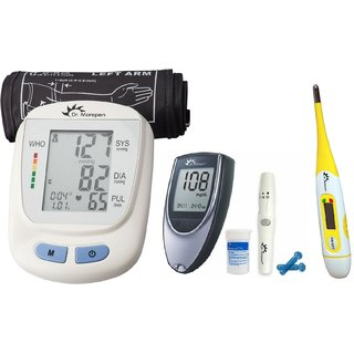 Combo of Dr Morepen Bp Monitor BP 09 with Glucometer BG03 25 Free Strips and Digital Thermmeter