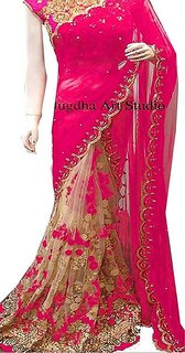 Priyanka's Women's Pink Embroidered Net Wedding Saree With Blouse