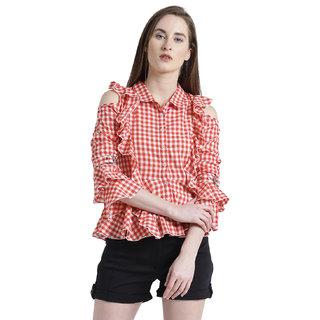 Texco Women Red & White Cotton Spread Collar Ruffled Checks Shirt