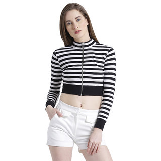 985e7ac0e1056 Buy Texco Women Black   White Striped Crop Top Online - Get 62% Off